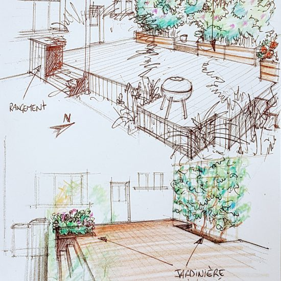 Croquis d'une terrasse